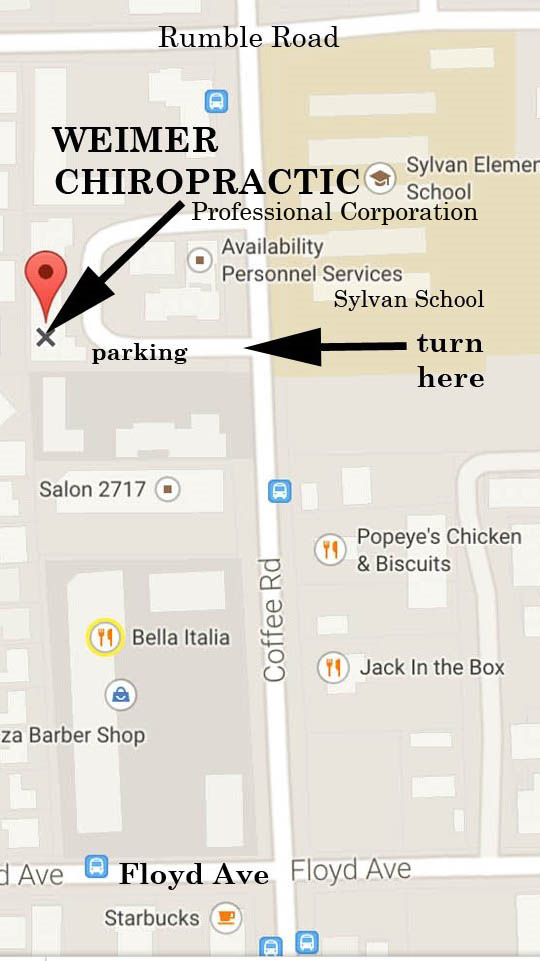 Map to the 2813 Coffee Road, Building F Office.
