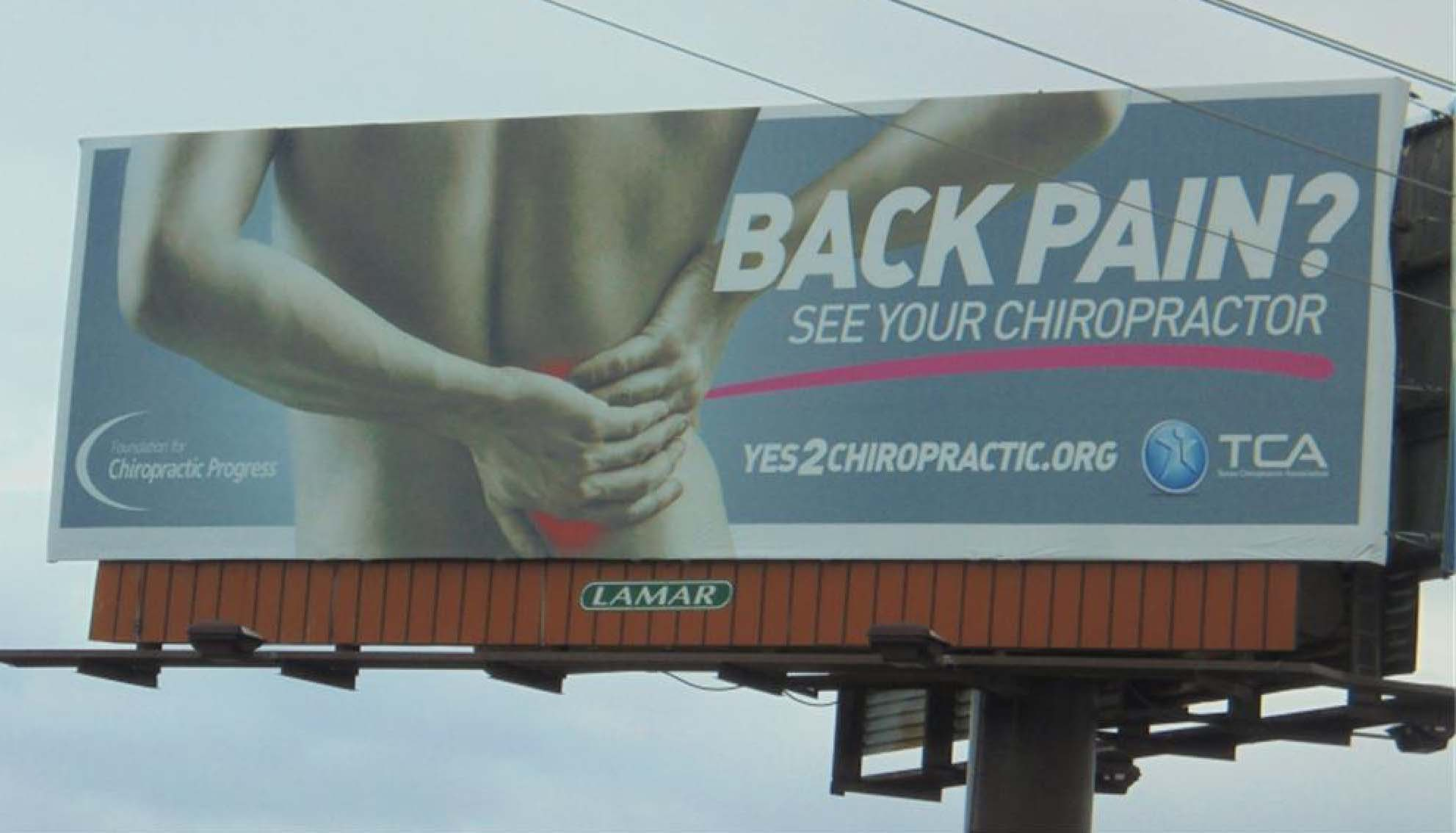 Billboard over LA promoting drug-free pain management.