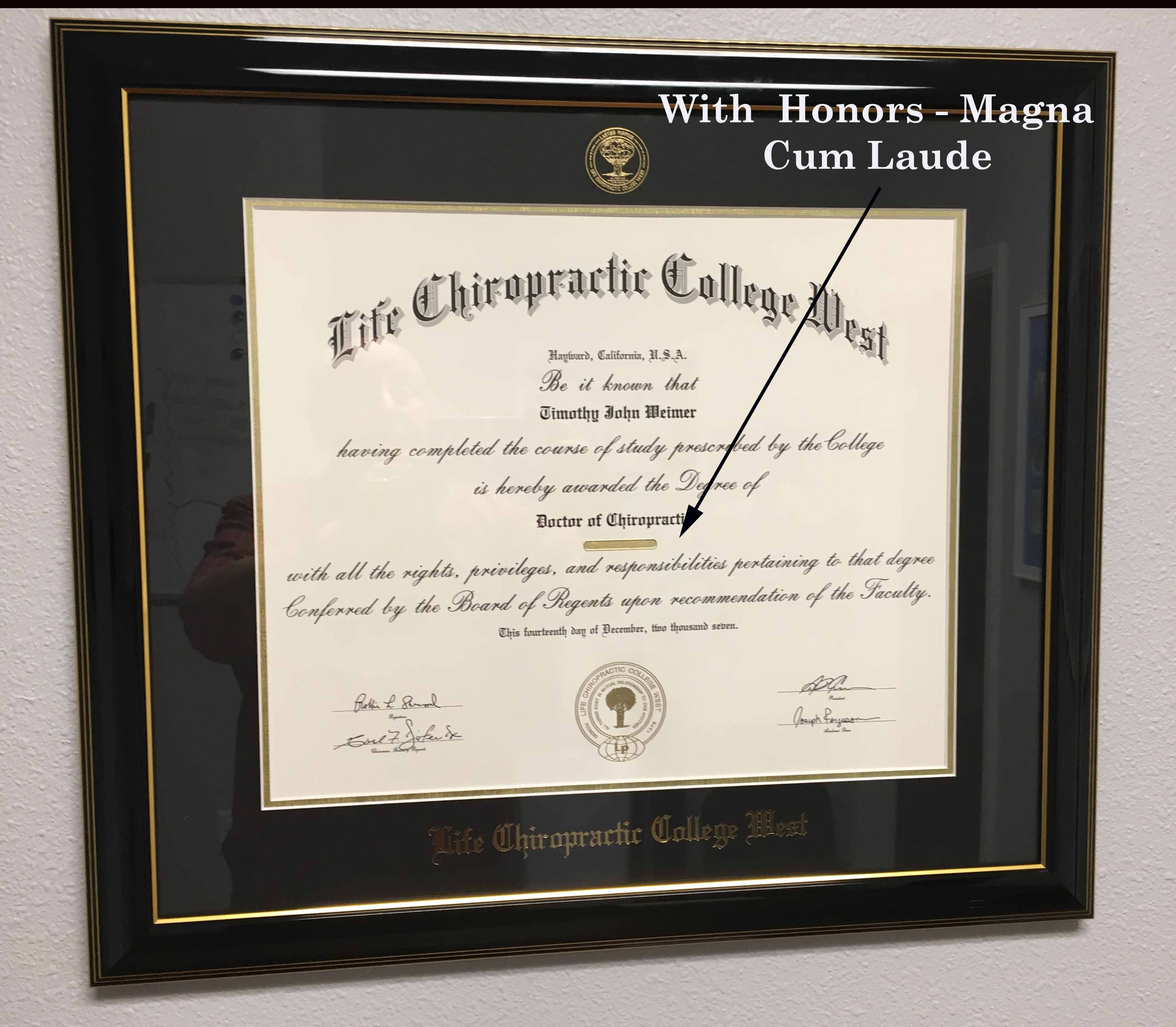 Life West Chiropractic College Diploma