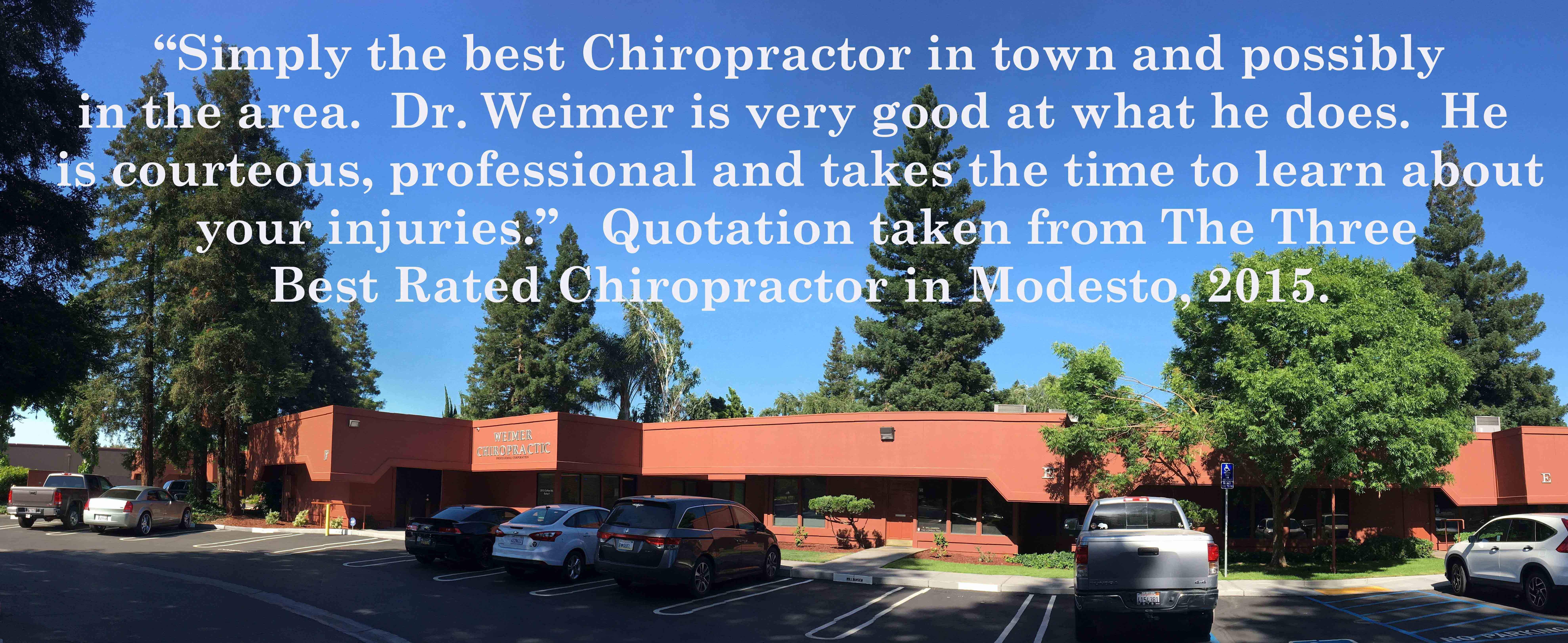 Dr, Weimer is the best Chiropractor in town and possibly in this area. He takes the time to learn about your injuries.