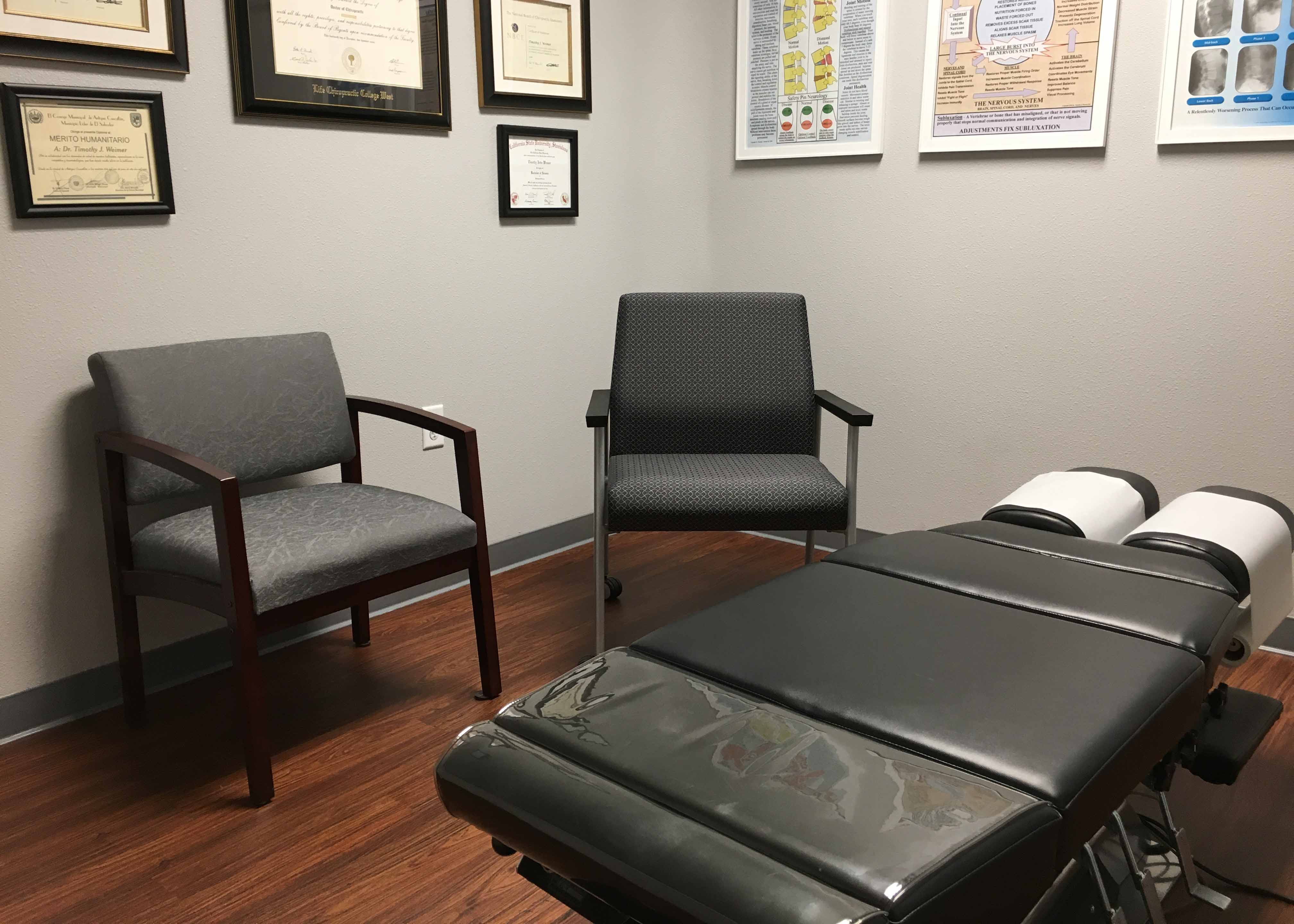 Treatment Room at Weimer Chiropractic with Deluxe High Low Elevation Table.