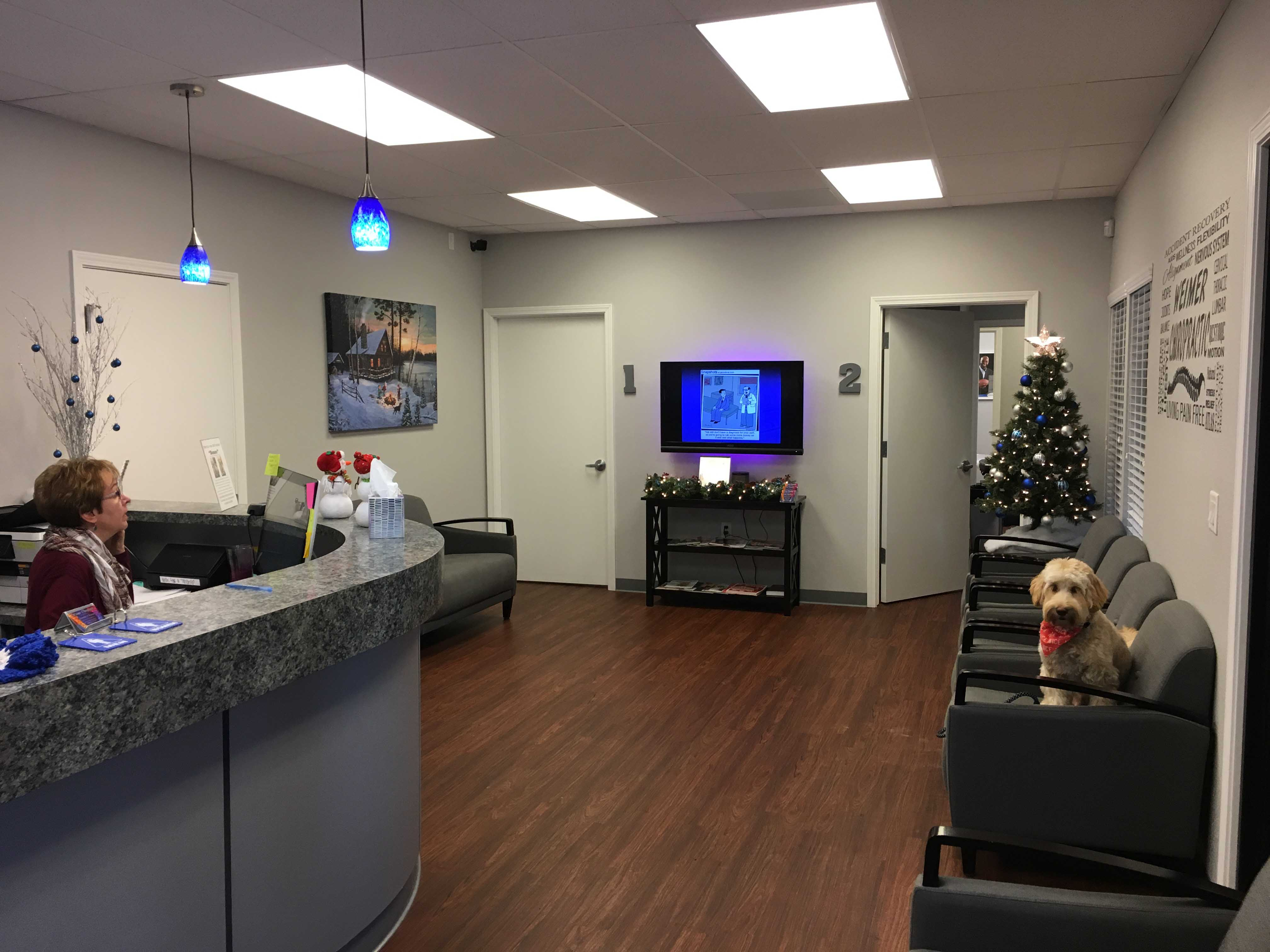 Weimer Chiropractic Lobby with Bones, our service dog.